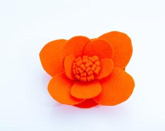 Orange felt flower brooch  Orange felt flower brooch pin Handmade Jewelley brooch Floral brooch Brooch pin Orange flower brooch