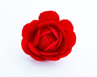Red flower brooch Pin brooch Wedding brooch. Ladies gift Brooch red Felt brooch Jewellery brooch Handmade red brooch Flower brooch wedding