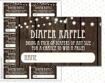 Diaper Raffle ticket Rustic (INSTANT DOWNLOAD) - Diaper Raffle insert - Diaper Raffle cards - Rustic Baby Shower