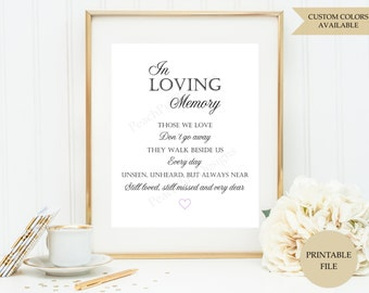 In loving memory sign (PRINTABLE FILE) - Those we love dont go away - In loving memory wedding sign - Memorial sign - Remembrance sign