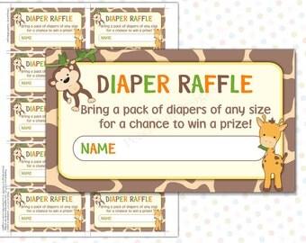 Diaper Raffle ticket Safari (INSTANT DOWNLOAD) - Diaper Raffle insert - Diaper Raffle cards - Safari Baby shower games MU001