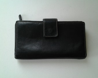 Vintage ladies Wallet / Vintage Black Leather wallet