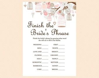 finish the bride's phrase, finish the phrase, sentence, love birds, Bridal Shower Game Printables, Bachelorette, Wedding Shower Games BS42