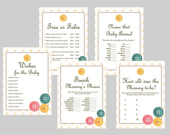 Cute as a Button Baby Shower Games Printables, Gender Neutral Baby Shower TLC22