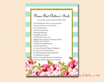 Name that children's book, Alternate titles for popular children's book, Baby Shower Games Printable, Baby Shower Activities, Download TLC78