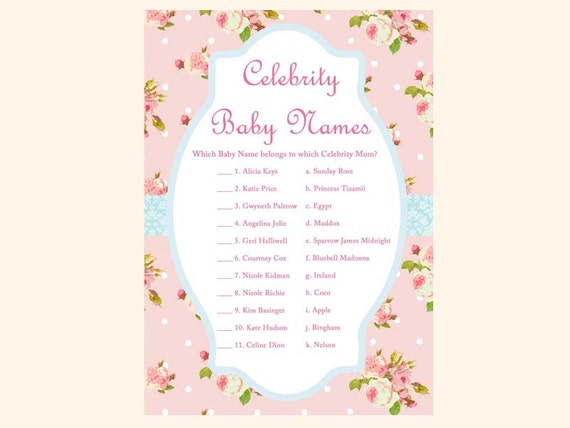 Celebrity Baby Names Game Mom Shabby Chic Shower Games Printables Rose TLC43