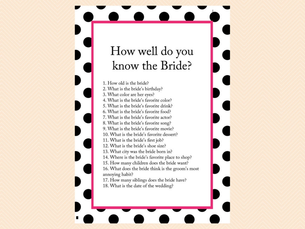 How Well Do You Know The Bride: How Well Do You Know The Bride Game Hot Pink Black Polka
