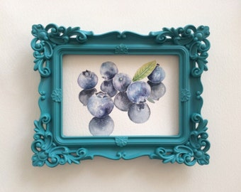 Kitchen art - Blueberries - watercolor painting of fruits,original watercolor art
