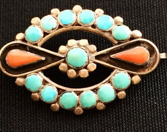 Turquoise and Coral Pin
