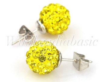 1pair Round Lemon Yellow Crystal  Pave Rhinestone Earstuds Earrings Beads Size 10mm SL0009-13