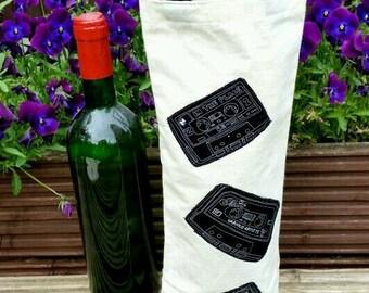 Retro cassette' fabric bottle bag