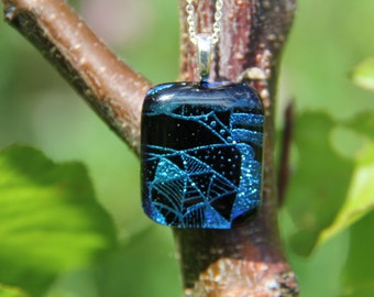 Blue and black dichroic pendant, dichroic glass necklace