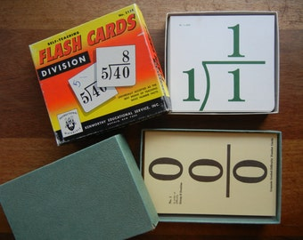 Set of Two ~ Addition and Division Flash Cards ~ 1959