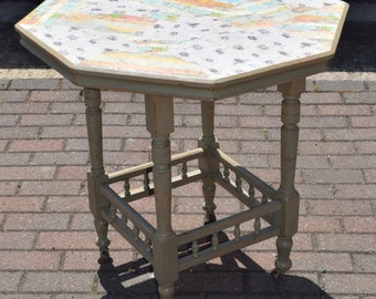 Shabby chic table, OOAK, decoupage top, octagonal table, small dining table