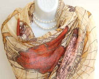 World Map Scarf. Beige,Brown Long Scarves/Shawl/Wrap/Stole. Autumn Scarf.Summer Scarf.Beach Wrap/Sarong.Beach Pareo.World Traveler Gift