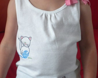 T-shirt girl with hand embroidered kittens