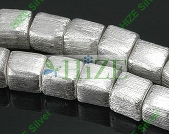 HIZE BB092 925 Bali Bright Sterling Silver Brushed Satin Square Cube Beads 7mm (10)