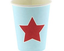 Set of 12 Classic Boy Light Blue and Red Star 250ml Paper Party Drinking Cups for Superhero Theme, Boy's Party, Birthday Party, Kid's Party