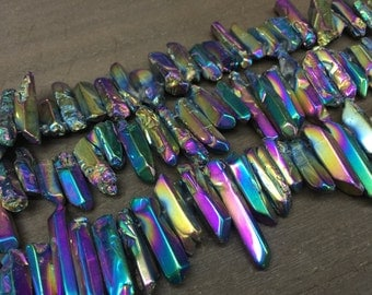 Polished Tiny Rainbow quartz point Beads Titanium Quartz Crystal points Spike beads Stick beads supplies top drilled 5-8mm x 15-30mm