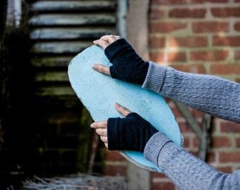 Black Cashmere fingerless gloves