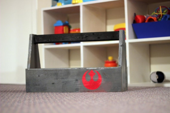 Toolbox for tools or toys - made of reclaimed wood and painted with custom logo