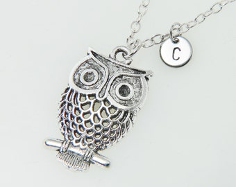 Owl Necklace, Owl Pendant, Owl Charm Necklace, Bird Jewelry with Initial Hand Stamped, Personalized, Antique Silver, Monogram