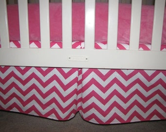 Candy Pink Chevron Crib Skirt with Pleat