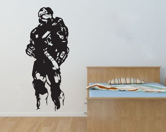 New Halo Master Chief Wall Decal Black Wall Stickers Large 137cm X 58cm 4.5 feet