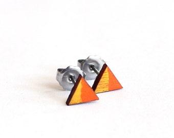 Geometric Earrings, Triangle Earrings, Tiny Earring Studs, 6mm Earrings, Orange and Yellow Earring Studs, Eco Friendly
