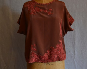 Beautiful 1980s silky embroidered top