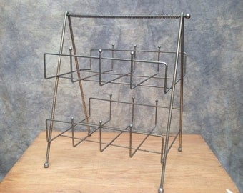 Mid Century Rack // Wire Brass Finish Spring Handle 1950s Atomic Design