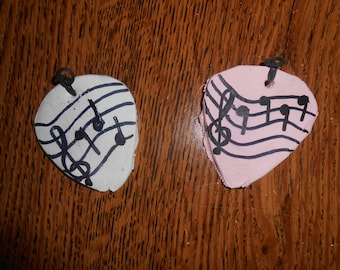 Polymer Clay Guitar Pick Necklace Pendant