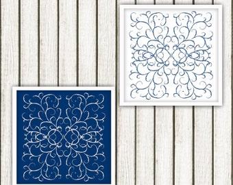 Scratch doodle Blue Printable Art Set, Printable Art, blue and white Art, Set of 2 Art Prints, Modern Art, Bedroom Art, Wall Decor,Download