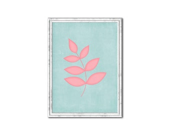 Light Blue with Pink Leaf Nursery Print-Millie Collection
