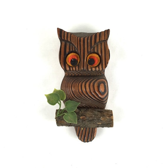 Wooden Owl Wall Decor : Vintage wooden owl wall hanging on log with by velmasdiner