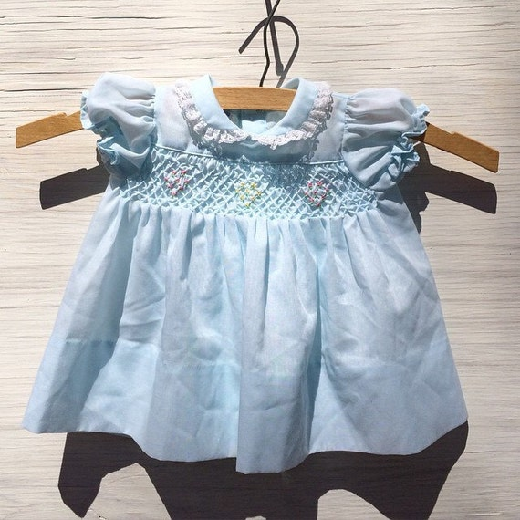 Vintage smocked polly flinders baby dress by theluckyloon on etsy
