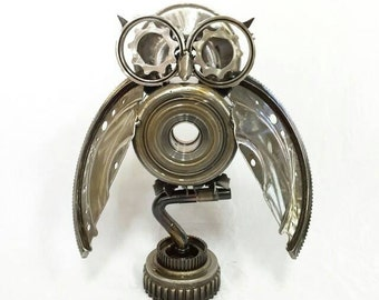 Owl metal sculpture