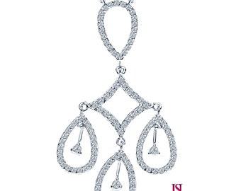 "Collection Diamond Pendant Necklace 16"" Chain 14k White Gold, Handmade Necklace, Raindrop Diamond Pendant, Women's Droplet Diamond Necklace"