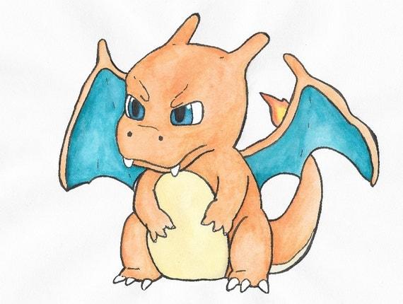 Articles similaires en col re chibi dracaufeu dessin art print sur etsy - Dessin pokemon dracaufeu ...