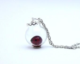 Globe Ladybug Murano glass pendant