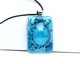 Pendant Rectangle bubbles Turquoise glass Fusing