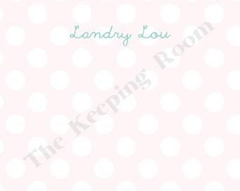 Polka Dot Flat Note With Name, Personalized Stationery Set