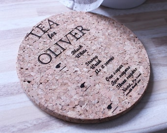 Personalised Tea or Coffee Coaster - Personalised Coaster - Customised Coaster - Gift For Colleague - Cork Coaster - Personalised Cork