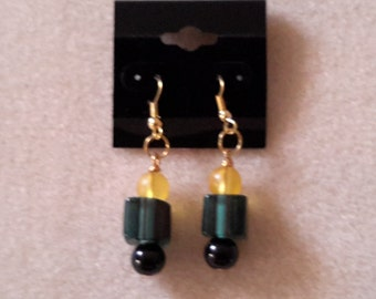 Granite cane glass earrings