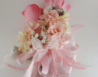 Pink Wedding Prom Rose Hydrangea Silk Flower Pin On or Corsage