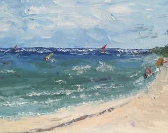 "Original oil painting, fine art impasto impressionism, ""Wind Surfing"""