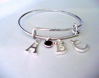 Expandable  BANGLE / Swarovski  Birthstone  /  INITIAL Charm Bracelet w/ A Silver Tone Heart / Gift For Her /  Usa   CH1