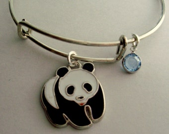 PANDA BEAR Charm Bracelet / Adjustable / Expandable Bangle W/ Birthstone  / INITIAL Drop / Under Twenty / Gift For Her Usa A1