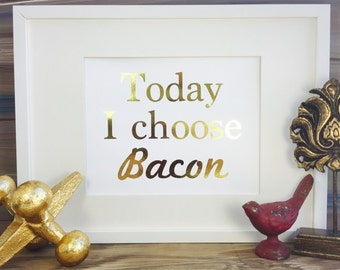 Bacon print, Bacon wall Art, Gold Foil Print, Gold Wall Art, bacon art, kitchen art, Gold print, bacon gifts
