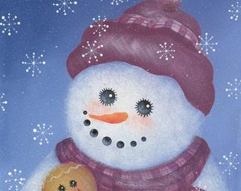 Snowman and Gingerbread - Snowman Art Print